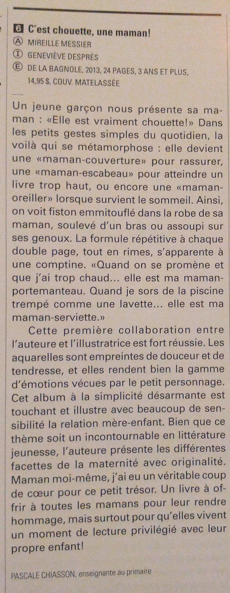Critique de C'est chouette une maman dans Lurelu (Sept. 2013)